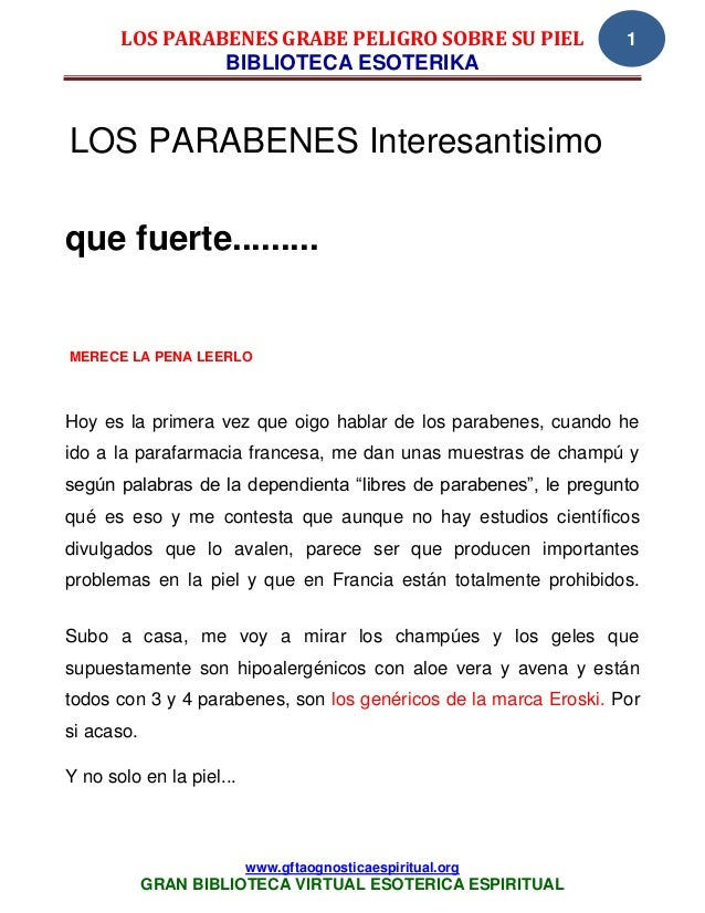 LOS PARABENES GRABE PELIGRO SOBRE SU PIEL                  1                BIBLIOTECA ESOTERIKALOS PARABENES Interesantis...