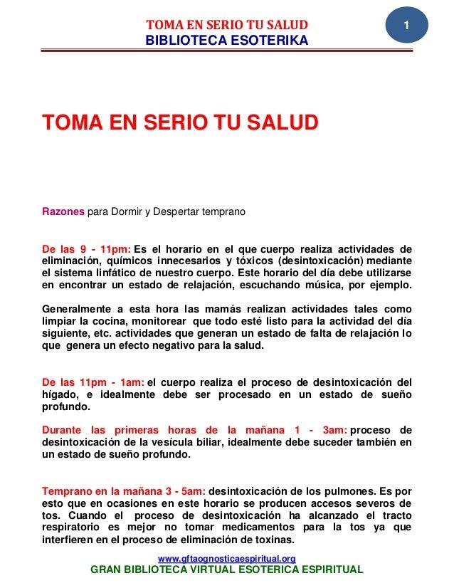 TOMA EN SERIO TU SALUD                               1                     BIBLIOTECA ESOTERIKATOMA EN SERIO TU SALUDRazon...