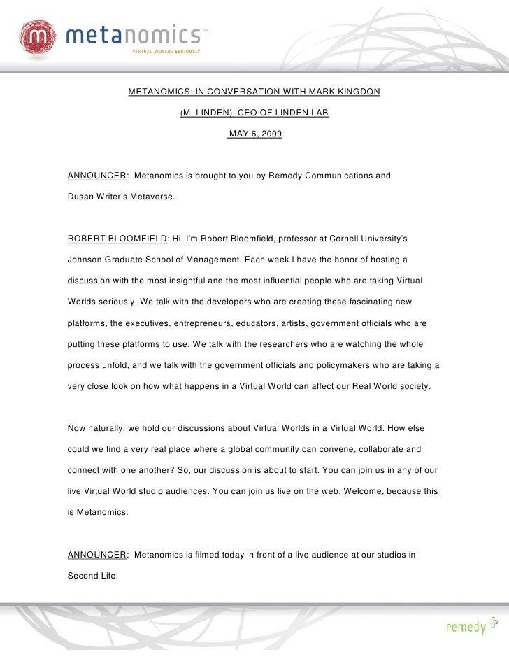 METANOMICS: IN CONVERSATION WITH MARK KINGDON                              (M. LINDEN), CEO OF LINDEN LAB                 ...