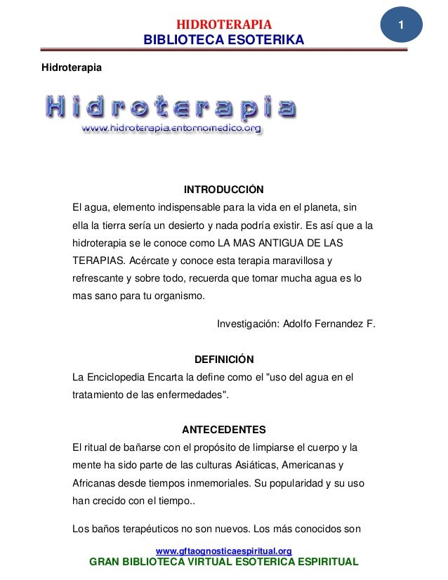 HIDROTERAPIA                                         1                      BIBLIOTECA ESOTERIKAHidroterapia              ...
