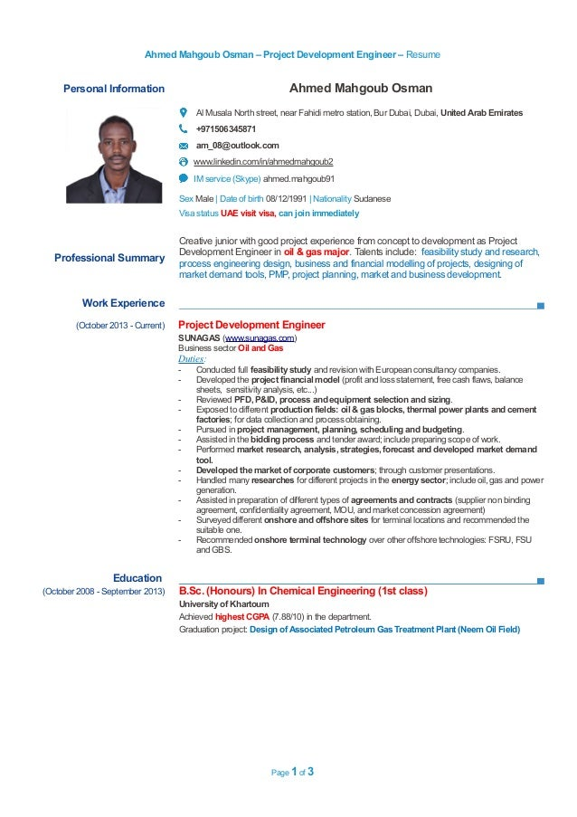0506345871 resume project development engineer