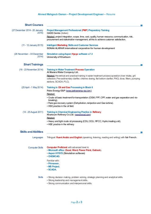 0506345871 resume project development engineer
