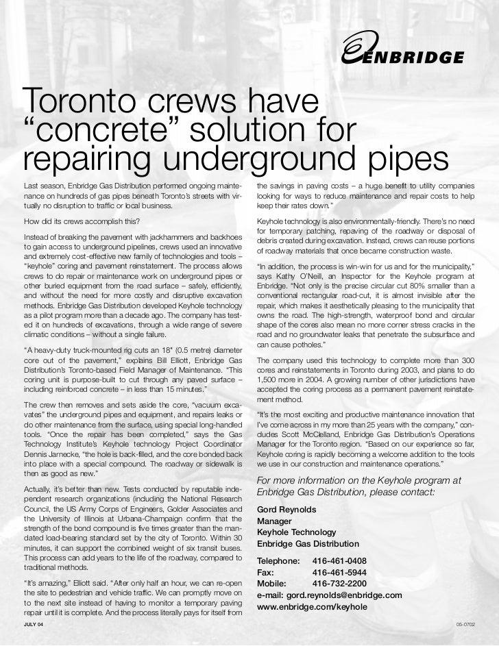 "Toronto crews have""concrete"" solution forrepairing underground pipesLast season, Enbridge Gas Distribution performed ongoi..."