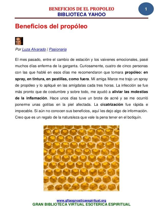 BENEFICIOS DE EL PROPOLEO                                   1                       BIBLIOTECA YAHOOBeneficios del propóle...