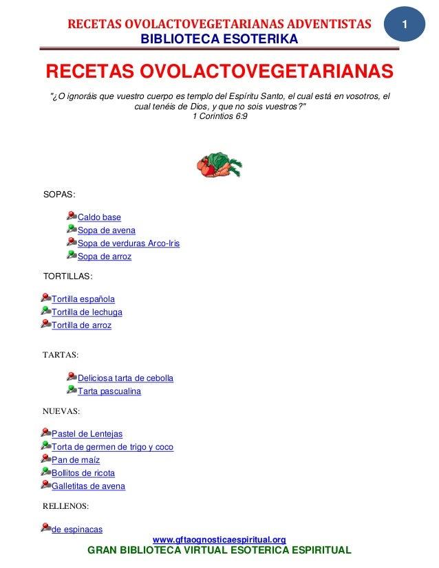 RECETAS OVOLACTOVEGETARIANAS ADVENTISTAS                                                 1               BIBLIOTECA ESOTER...