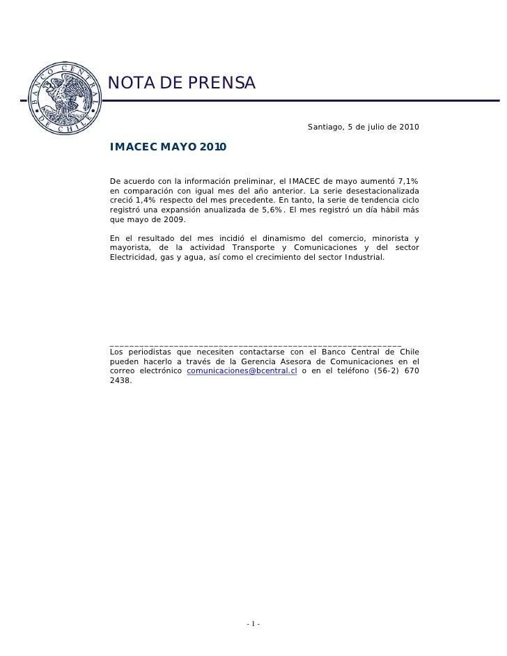 NOTA DE PRENSA                                                   Santiago, 5 de julio de 2010  IMACEC MAYO 2010   De acuer...