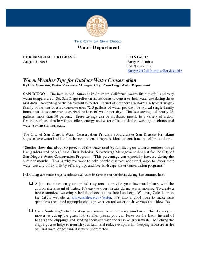 Water DepartmentFOR IMMEDIATE RELEASE                                              CONTACT:August 5, 2005                 ...