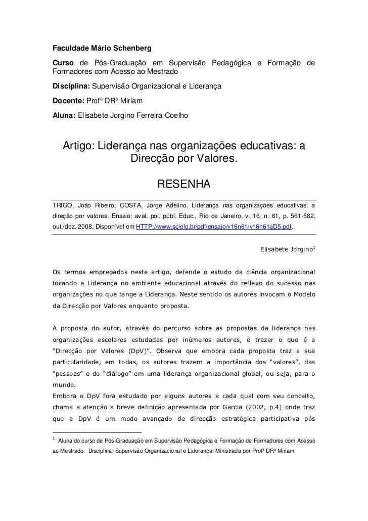 Faculdade Mário SchenbergCurso de Pós-Graduação em Supervisão Pedagógica e Formação deFormadores com Acesso ao MestradoDis...