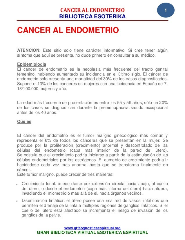 CANCER AL ENDOMETRIO                                       1                         BIBLIOTECA ESOTERIKACANCER AL ENDOMET...