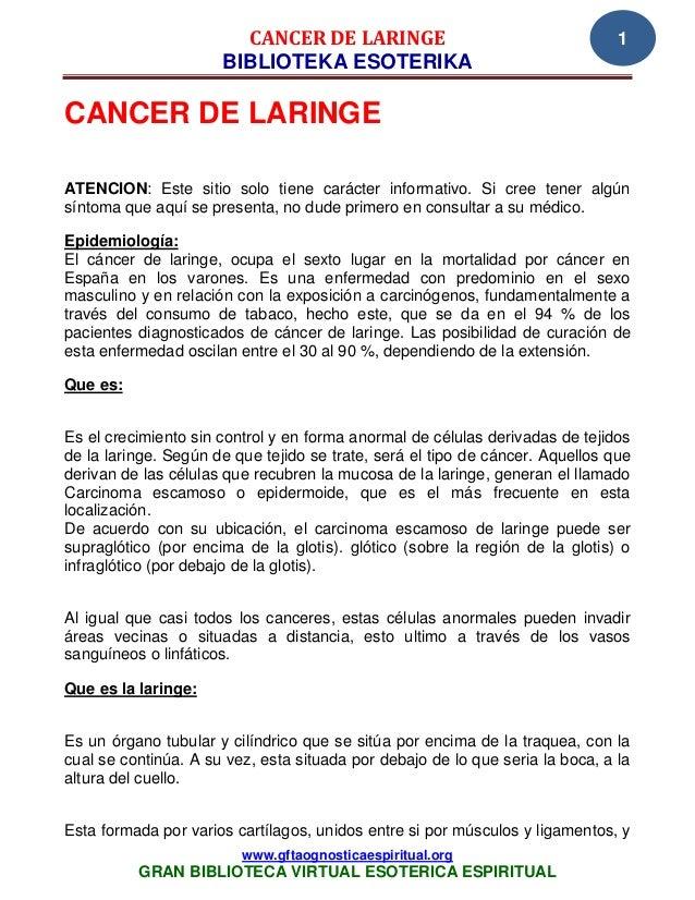 CANCER DE LARINGE                                      1                      BIBLIOTEKA ESOTERIKACANCER DE LARINGEATENCIO...