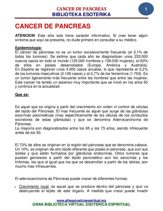 CANCER DE PANCREAS                                      1                      BIBLIOTEKA ESOTERIKACANCER DE PANCREASATENC...