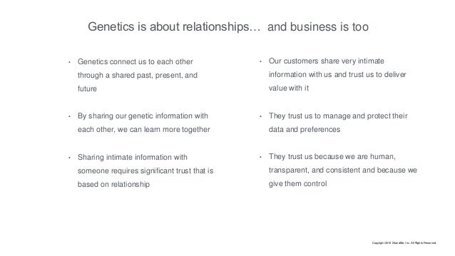 Genetics is about relationships… • Genetics connect us to each other through a shared past, present, and future • By shari...