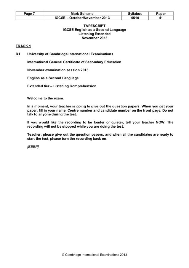 Cambridge igcse component 5 speaking and listening complete unit.