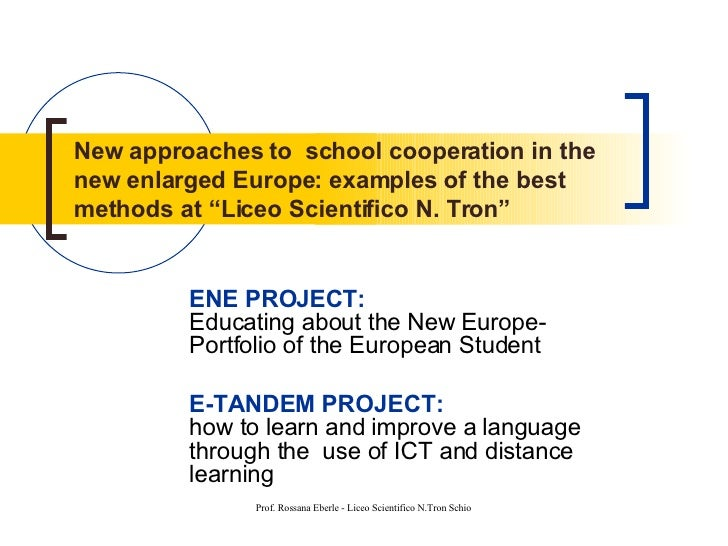 """New approaches to  school cooperation in the new enlarged Europe: examples of the best methods at """"Liceo Scientifico N. Tr..."""
