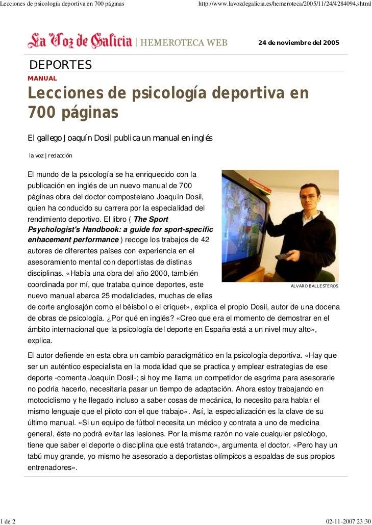 Lecciones de psicología deportiva en 700 páginas              http://www.lavozdegalicia.es/hemeroteca/2005/11/24/4284094.s...