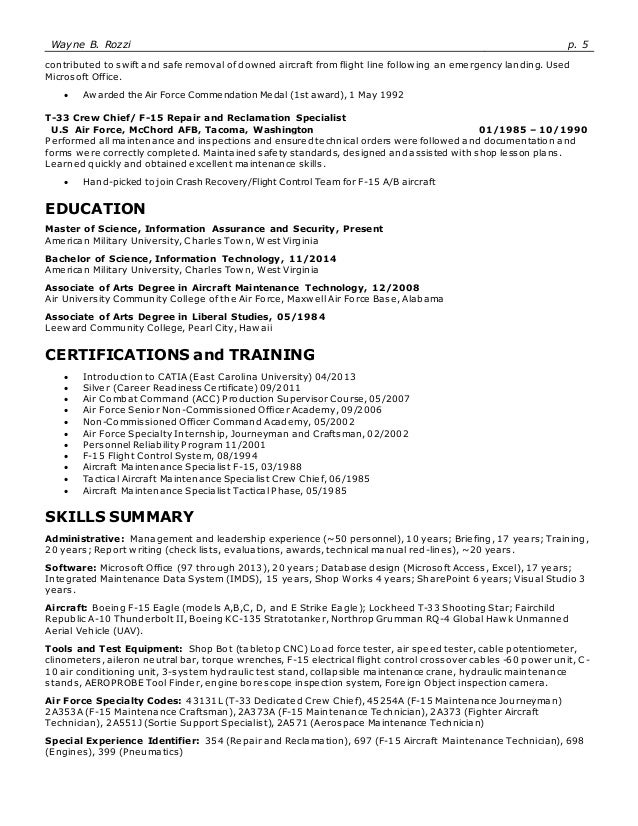 air force crew chief resume