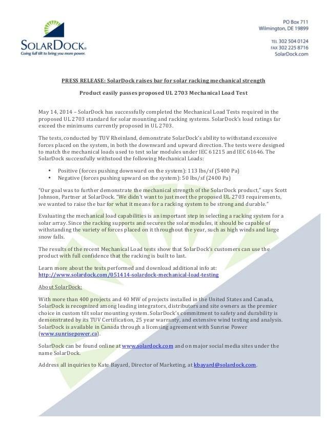 PRESS  RELEASE:  SolarDock  raises  bar  fo...