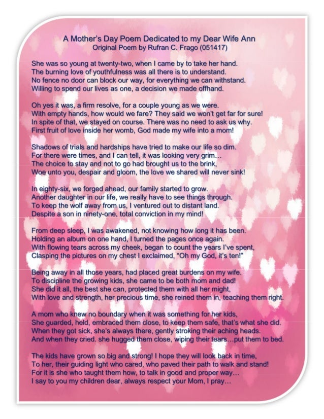 051417 mothers day poem dedicated to my wife