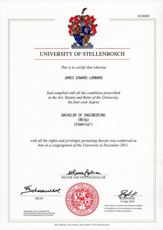 UNIVERSITY OF STELLENBOSCH This is to certify that whereas JAMES EDWARD LOMBARD had complied with all the conditions presc...
