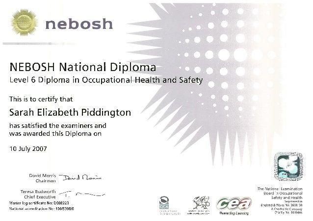 NEBOSH Level 6 Diploma Sarah Piddington 200707