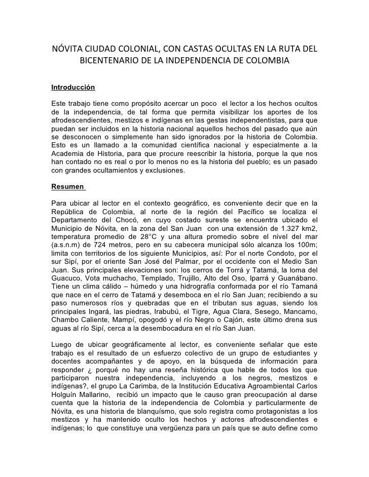 NÓVITA CIUDAD COLONIAL, CON CASTAS OCULTAS EN LA RUTA DEL      BICENTENARIO DE LA INDEPENDENCIA DE COLOMBIA  Introducción ...