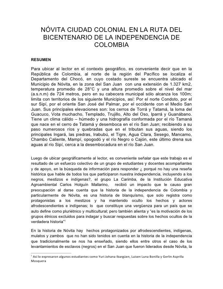 NÓVITA CIUDAD COLONIAL EN LA RUTA DEL        BICENTENARIO DE LA INDEPENDENCIA DE                     COLOMBIA  RESUMEN  Pa...