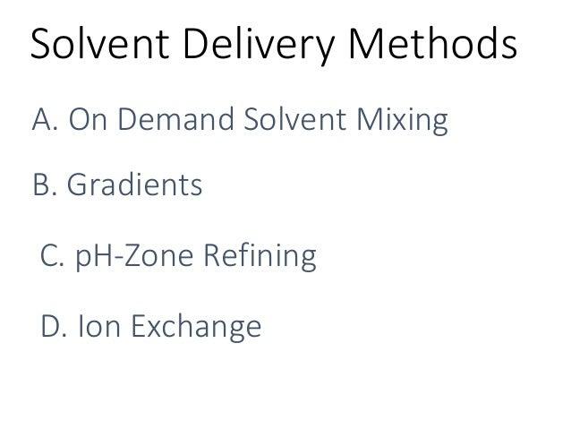 SolventDeliveryMethods A.OnDemandSolventMixing B.Gradients C.pH-ZoneRefining D.IonExchange