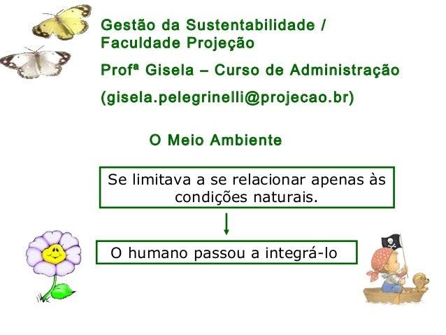 Gestão da Sustentabilidade / Faculdade Projeção Profª Gisela – Curso de Administração (gisela.pelegrinelli@projecao.br) Se...