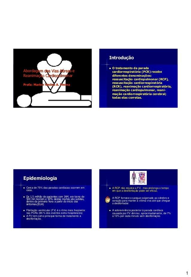 1 Abordagem das Vias Aéreas e Reanimação Cardiopulmonar Profa: Marion Vecina A. Vecina Introdução  O tratamento da parada...