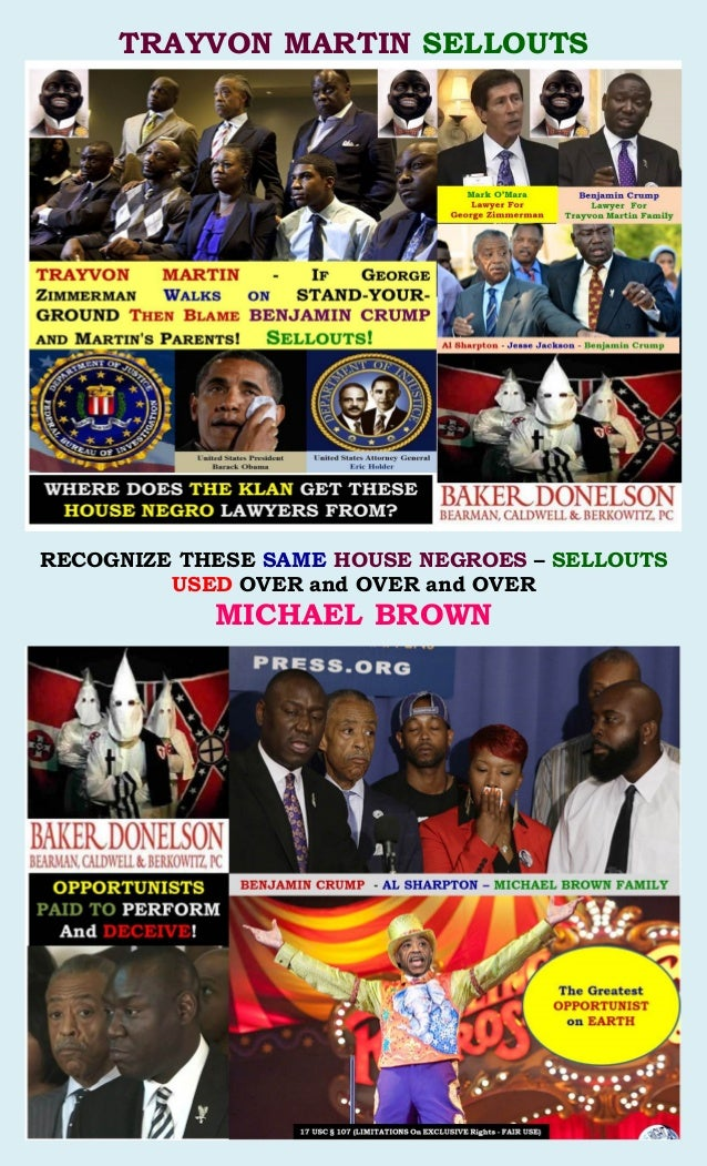 TRAYVON MARTIN SELLOUTS RECOGNIZE THESE SAME HOUSE NEGROES – SELLOUTS USED OVER and OVER and OVER MICHAEL BROWN