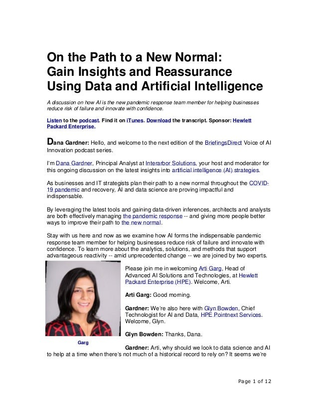 Page 1 of 12 On the Path to a New Normal: Gain Insights and Reassurance Using Data and Artificial Intelligence A discussio...