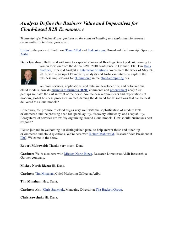 Analysts Define the Business Value and Imperatives for Cloud-based B2B Ecommerce Transcript of a BriefingsDirect podcast on...