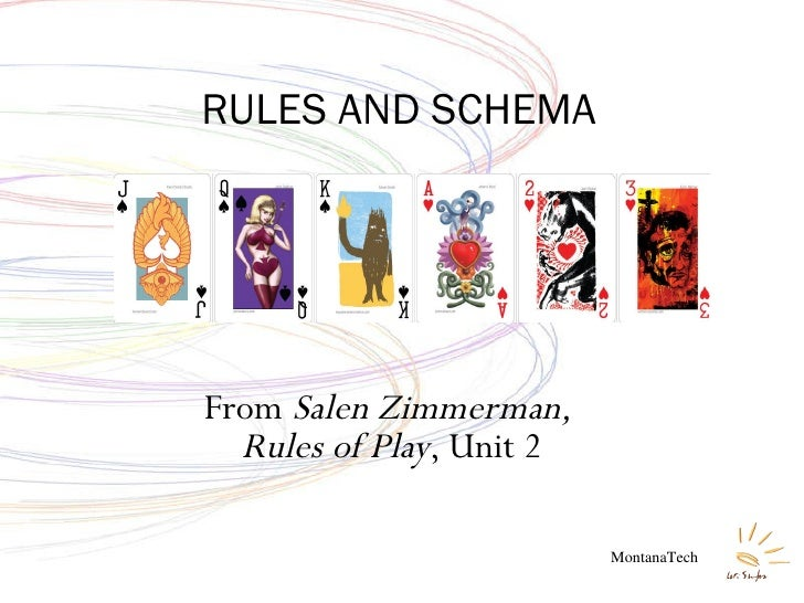 From  Salen Zimmerman,  Rules of Play , Unit 2 RULES AND SCHEMA MontanaTech