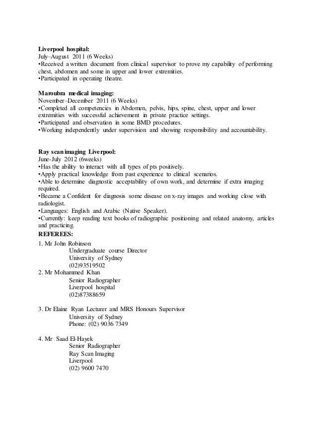 CV of SPPNPDP in MRSDiagnostic Radiography 2 – Radiographer Resume