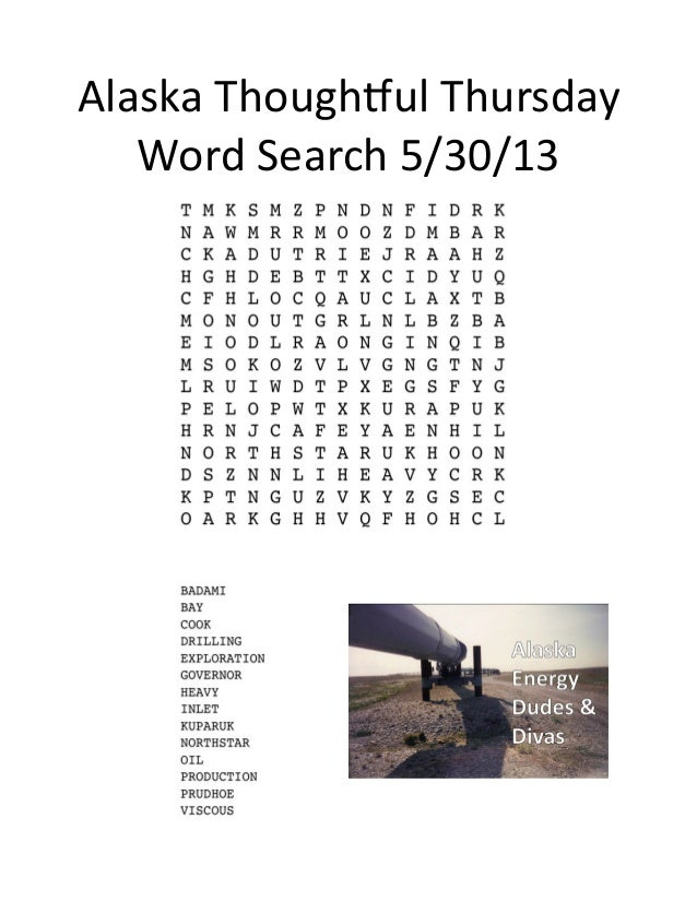 Alaska	  Though,ul	  Thursday	  Word	  Search	  5/30/13