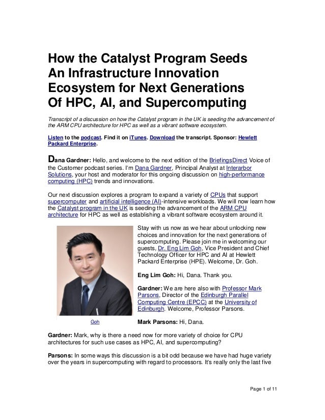 Page 1 of 11 How the Catalyst Program Seeds An Infrastructure Innovation Ecosystem for Next Generations Of HPC, AI, and Su...