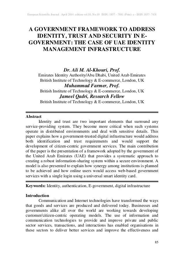 European Scientific Journal April 2014 edition vol.10, No.10 ISSN: 1857 – 7881 (Print) e - ISSN 1857- 7431 85 A GOVERNMENT...