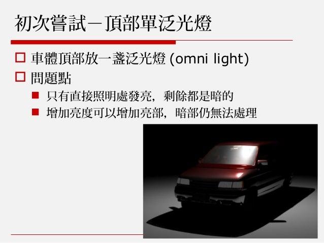 初次嘗試-頂部單泛光燈  車體頂部放一盞泛光燈 (omni light)  問題點  只有直接照明處發亮,剩餘都是暗的  增加亮度可以增加亮部,暗部仍無法處理