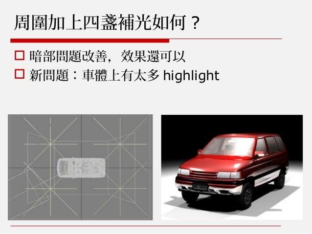 周圍加上四盞補光如何 ?  暗部問題改善,效果還可以  新問題:車體上有太多 highlight