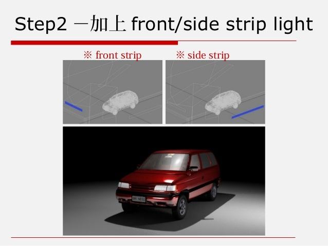 Step2 -加上 front/side strip light ※ front strip ※ side strip
