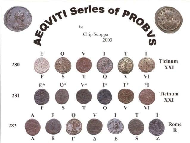PROBUS – 280CE  Ticinum  P – Prima (First)  The E of EQVITI  CONCORDMILIT  Concordia holding two standards  RIC vol ...