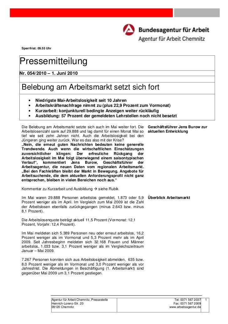 Sperrfrist: 09.55 UhrPressemitteilungNr. 054/2010 – 1. Juni 2010 Belebung am Arbeitsmarkt setzt sich fort     •    Niedrig...