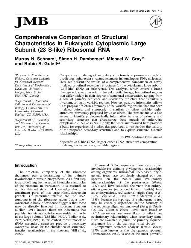 J. Mol. Biol. (1996) 256, 701–719Comprehensive Comparison of StructuralCharacteristics in Eukaryotic Cytoplasmic LargeSubu...