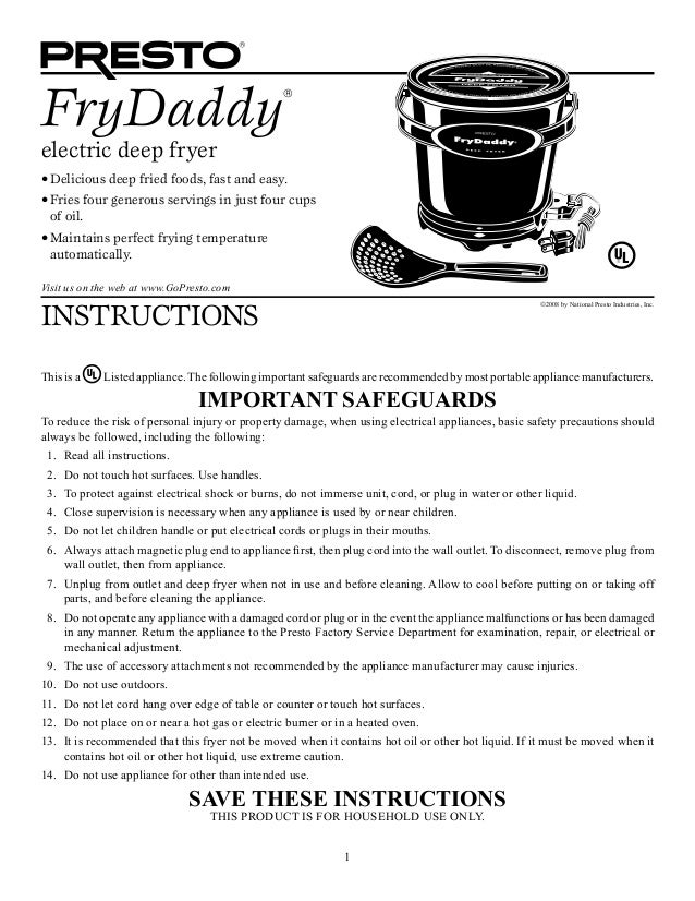 Instructions About Presto Frydaddy Deep Fryer
