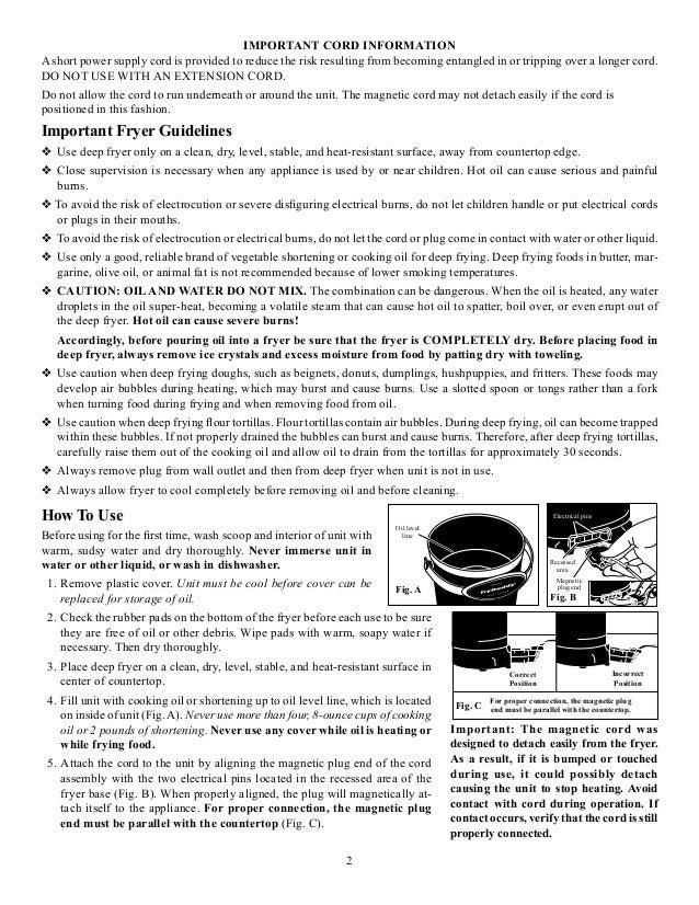 Instructions About Presto Frydaddy Deep Fryer