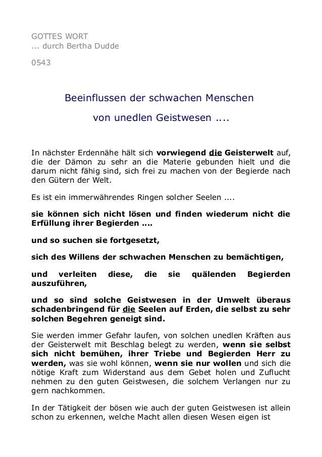 GOTTES WORT ... durch Bertha Dudde 0543 Beeinflussen der schwachen Menschen von unedlen Geistwesen .... In nächster Erdenn...