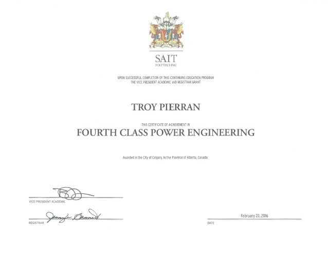 ... 4th Class Power Engineer Cover Power Engineering 4th Class Certificate  ...