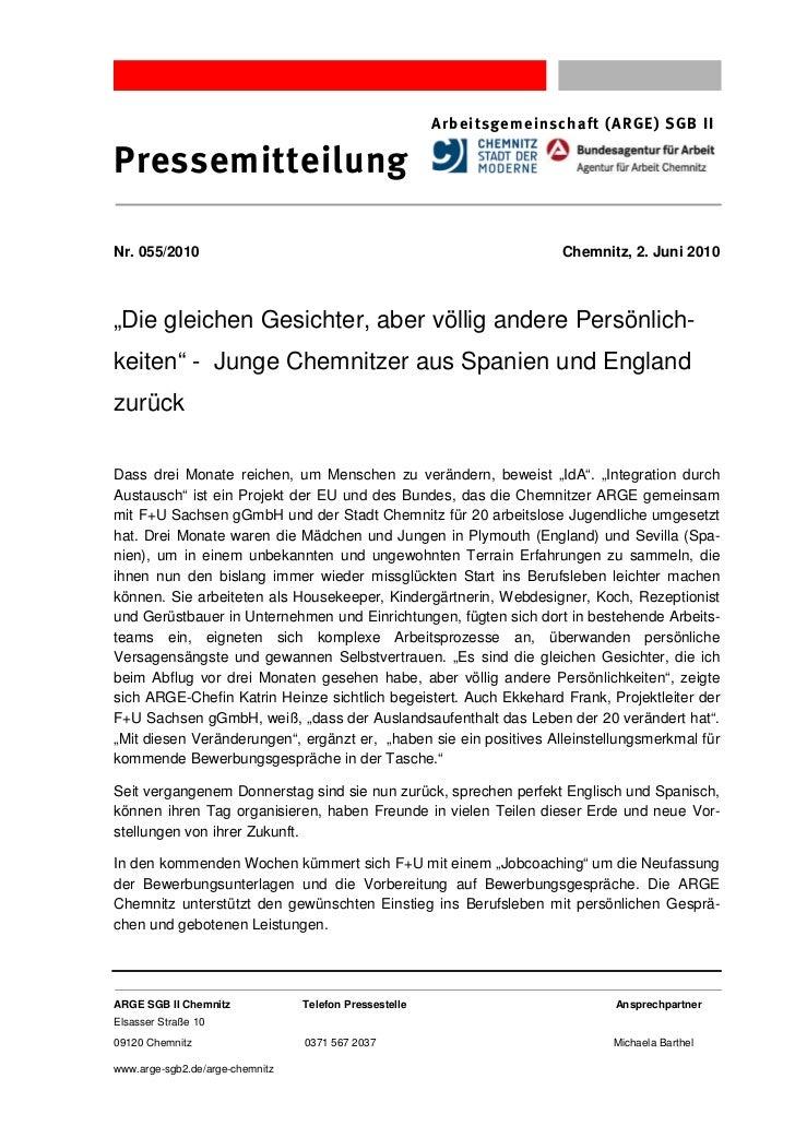 Arbeitsgemeinschaft (ARGE) SGB IIPressemitteilungNr. 055/2010                                                           Ch...