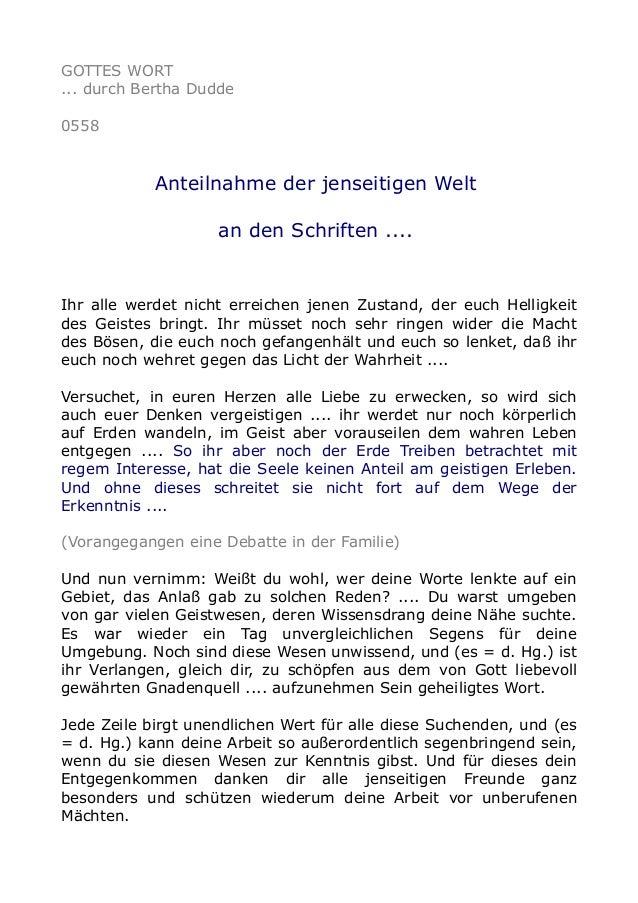 GOTTES WORT ... durch Bertha Dudde 0558 Anteilnahme der jenseitigen Welt an den Schriften .... Ihr alle werdet nicht errei...