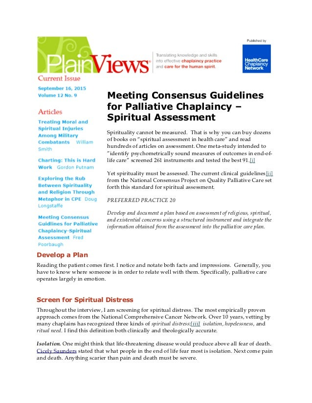 Meeting Consensus Guidelines for Palliative Chaplaincy